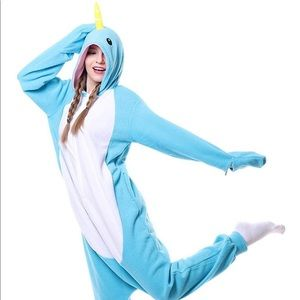 Narwal Onesie Pajama Costume Light Blue